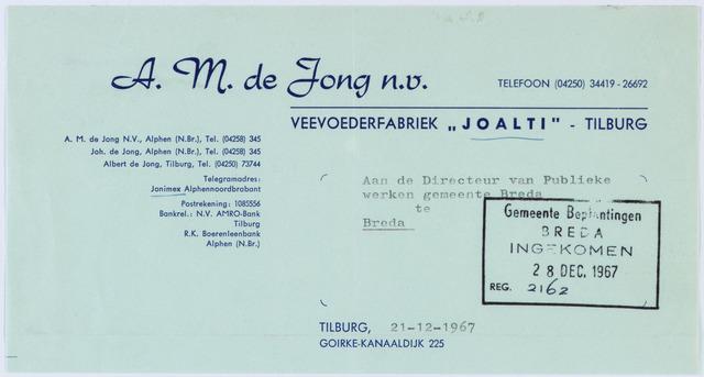"""060399 - Briefhoofd. Nota van A.M. de Jong N.V., Veevoederfabriek """"Joalti"""". Goirke-Kanaaldijk 225, voor Publieke werken te Breda"""