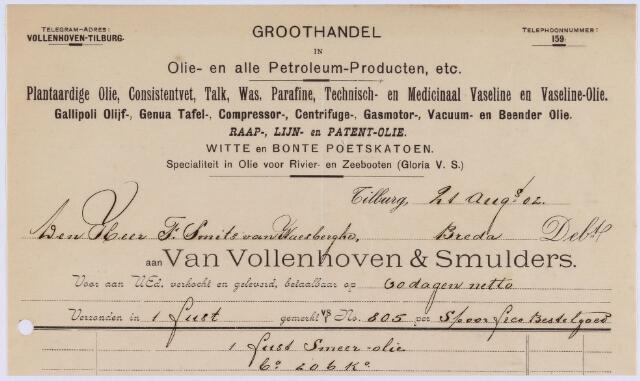 061356 - Briefhoofd. Nota van Van Vollenhoven & Smulders, groothandel in olie- en alle petroleum-producten, voor F. Smits van Waesberghe te Breda