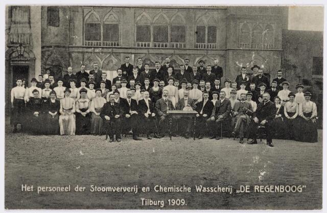 037840 - Textiel. Personeel van stoomververij en chemische wasserij  De Regenboog in 1909