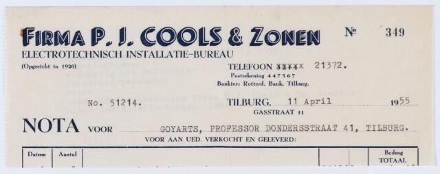 059866 - Briefhoofd. Nota van Firma P.J. Cools & Zonen, Electrotechnisch Installatie-bureau, Gasstraat 11, voor Goyarts, Prof. Dondersstraat 41