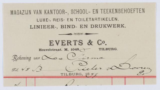 060073 - Briefhoofd. Nota van Everts & Co. Heuvelstraat, magazijn van kantoor-, school- en teekenbehoeften voor Pieter van Dooren