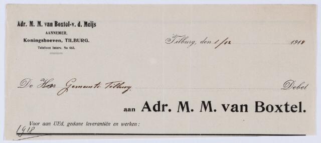 059696 - Briefhoofd. Nota van Adr. M.M. van Boxtel - v.d. Meijs, aannemer, Koningshoeven, voor Gemeente Tilburg