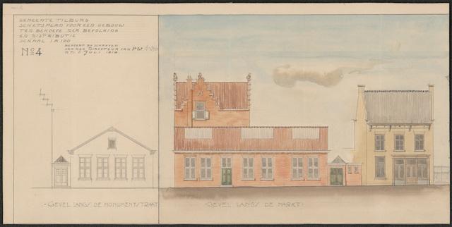 652522 - Schetsplan No. 4 voor een gebouw ten behoeve van Bevolking en Distributie.