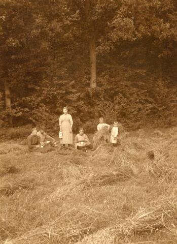 600815 - Pauze tijdens het hooien. Kasteel Loon op Zand. Families Verheyen, Kolfschoten en Van Stratum