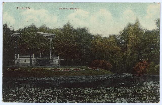 002908 - Vijver en muziekkiosk in het Wilhelminapark.