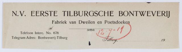 059675 - Briefhoofd. Briefhoofd van de naamloze vennootschap Eerste Tilburgsche Bontweverij, fabrikanten van Dekens, Dweilen, Poetsdoeken en Flanellen, Houtstraat 142