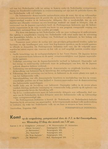1726_095A - Affiche Tweede Wereldoorlog.   Indonesië Bevrijd!, Manifest van de Perhimpoenan Indonesia, Afmeting: 21x28 cm, Drukker H.J. Koersen & Zonen Amsterdam.  Zie ook fotonummer: 1726_095A (voorzijde)  WOII. WO2. Nederlands-Indië. Indonesië.
