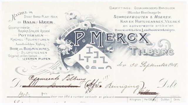 060721 - Briefhoofd. Nota van P. Mercx, handel in staaf-, band-, plaat- hoek- en balkijzer, voor de gemeente  Tilburg afd reiniging