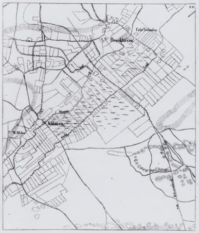 049205 - Kaart. Goirle met het gehucht Abcoven, Oude en Nieuwe Leij en de windmolen, het Tilburgse gehucht Broekhoven en de weg van Tilburg naar Hilvarenbeek door de Beekse Bergen.
