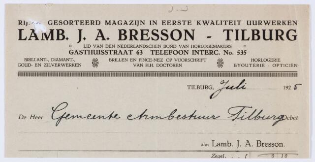 059744 - Briefhoofd. Nota van Lamb. J. A. Bresson - Tilburg, gediplomeerd horloger-opticien in uurwerken, optiek, goud- en zilverwerken, Gasthuisstraat 63, voor Armbestuur van de gemeente Tilburg