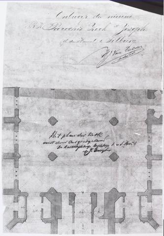 021311 - Detail van de ontwerptekening van de St.-Jozefkerk door architect Van Tulder