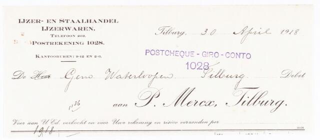 060718 - Briefhoofd. Nota van P. Mercx, ijzer- en staalhandel en ijzerwaren, voor de gemeente waterloopen Tilburg