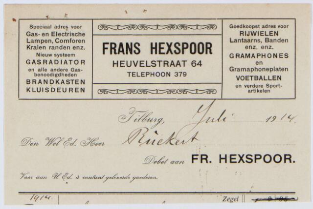 060282 - Briefhoofd. Nota van Fr. Hexspoor, Gas- en Electrische lampen en Rijwielhandel. Heuvelstraat 64  voor Ruekert