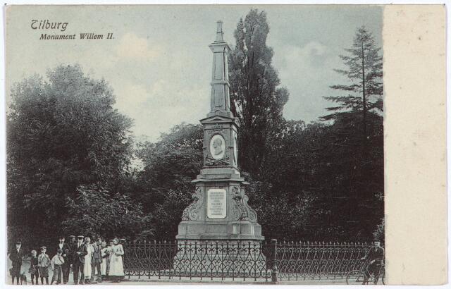 002513 - Gedenknaald voor koning Willem II op de hoek Monumentstraat-Paleisstraat.