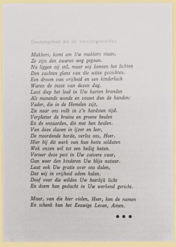 077372 - Tweede Wereldoorlog 1940-1945 Geuzengebed biju de terechtgestelden.