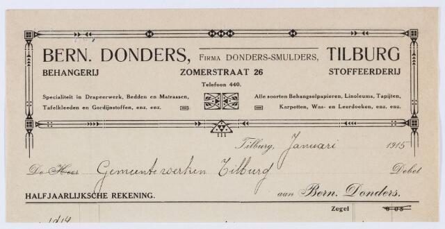 059920 - Briefhoofd. Behangerij en Stoffeerderij Bern Donders, firma Donders/Smulders, Zomerstraat 26, voor gemeente Tilburg