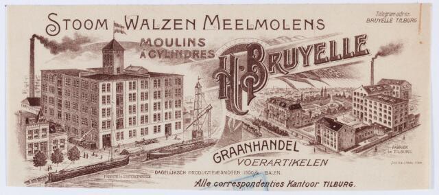 059804 - Briefhoofd. Briefhoofd van Stoom Walzen Meelmolen Moulin a Cylinders H. Bruyelle, Graanhandel en Voerartikelen met hierop de fabrieken te 's-Hertogenbosch en Tilburg.