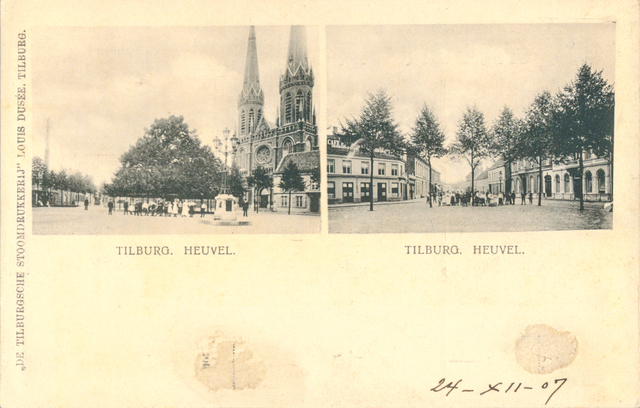 653907 - Tilburg. Ansichtkaart van de Heuvel met 2 kleinere foto's. Links de R.K. St Josef Kerk )ook bekend onder de naam  Heuvelse Kerk ), parochie De Goede Herder met daarvoor de beroemde Lindeboom en rechts een meer totaal beeld van het Heuvelplein met Hotel Riche (rechts)