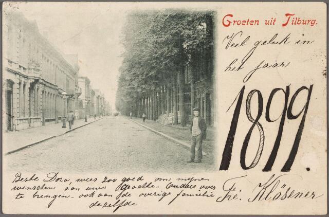 010678 - Een van de oudste ansichtkaarten van Tilburg, waarop Frederica Kläsener 'beste Dora'  (Bergmann) in Alkmaar veel geluk wenst in 1899. Johanna Frederica Maria Kläsener werd geboren in Alkmaar in 1876. In Tilburg was zij winkeljuffrouw bij koopman Joseph Thomeer. Op de ansichtkaart de Spoorlaan richting Noordhoek.