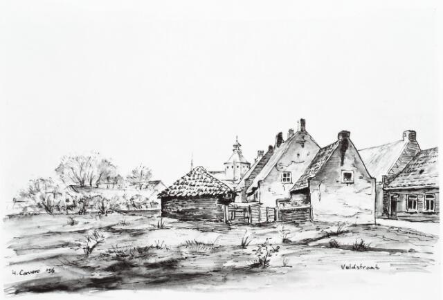 028102 - Aquarel. Aquarel van H. Corvers van woningen aan de Veldstraat thans Pastoor van Beurdenstraat