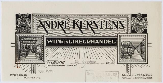060437 - Briefhoofd. Briefhoofd van André Kerstens, wijn- en likeurhandel, Spoorlaan 134-136