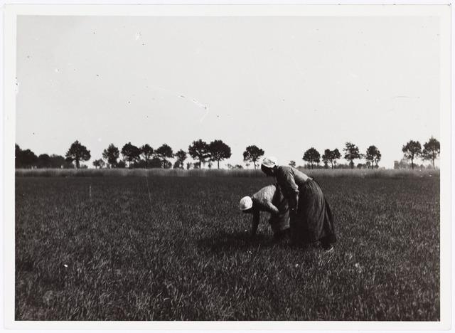 008555 - Twee vrouwen, werkend op het veld, gefotografeerd door Henri Berssenbrugge (1873-1959), begin 1900.