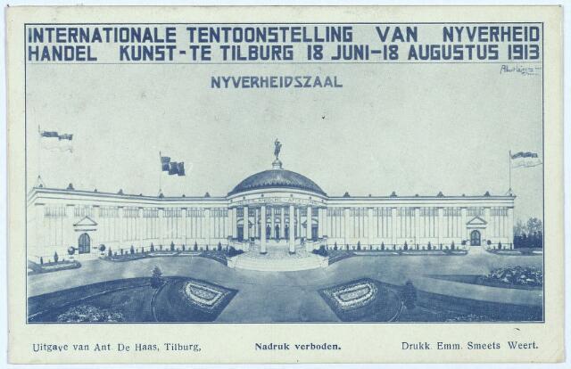 003308 - De nijverheidszaal op de Internationale Tentoonstelling van Nijverheid, Handel en Kunst te Tilburg.
