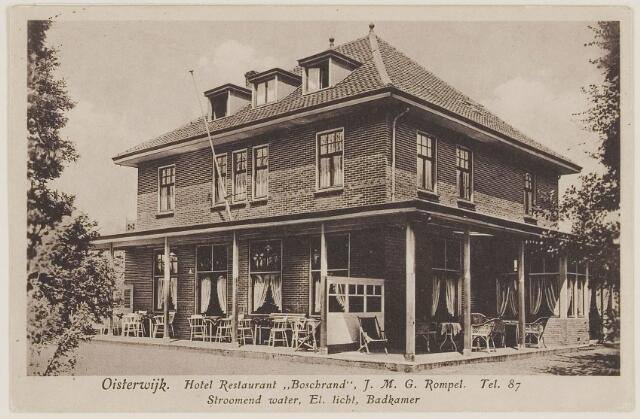 """073735 - Hotel """"Boschrand"""" gelegen aan de Gemullehoekenweg. Nu is er het indisch restaurant """"Rasa Senang"""" gevestigd."""