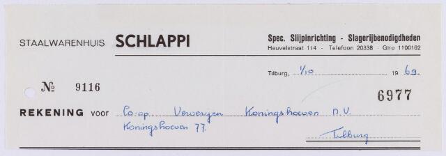 061037 - Briefhoofd. Nota van Staalwarenhuis Schlappi, Heuvelstraat 114 voor Coöp.ververijen Koningshoeven N.V., Koningshoeven 77