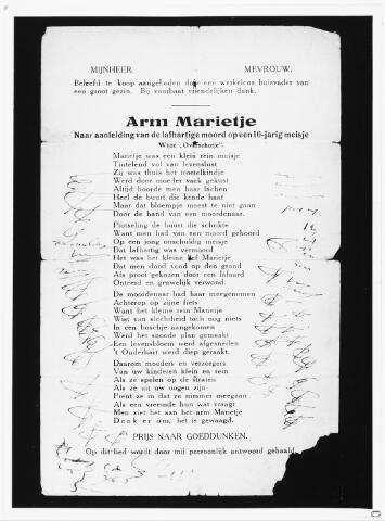 007174 - Pamflet. Gedrukt liedje gemaakt na het overlijden van Marietje Kessels dat door een werkeloos vader te koop werd aangeboden (1900).