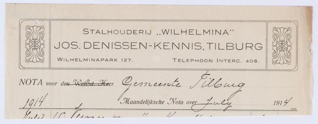 059893 - Briefhoofd. Nota van Jos Denissen-Kennis,Stalhouderij Wilhelmina, Wilhelminapark 127, voor de gemeente Tilburg