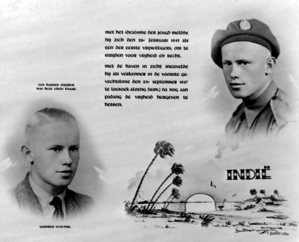 650421 - Schmidlin. Adrianus C.M.H. Teulings (Tilburg 1926-Loeboek-Aloeng 1947) was sinds februari 1945 als oorlogsvrijwilliger in Nederlands-Indië. Hij sneuvelde op 23 september 1947 te Loeboek-Aloeng op het eiland sumatra.