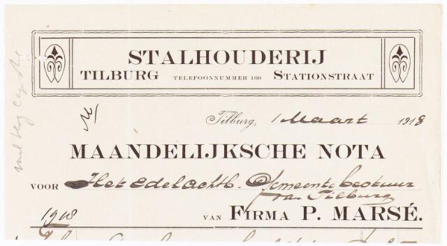 060671 - Briefhoofd. Nota van Stalhouderij Firma P.Marsé, Stationstraat voor de gemeente Tilburg