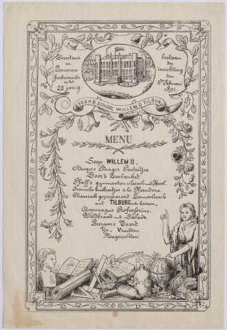 """044688 - Menukaart van het diner gegeven voor de directeur en de leraren van rijks HBS Willem II t.g.v. het zilveren bestaan van de school. De op de menukaart genoemde Soer, Pfaff en Reinders (Reijnders) waren in 1891 25 jaar als leraar aan de school verbonden. Pfaff was ook vice-president van de in 1869 opgerichte Weerbaarheids Vereniging Willem II en oprichter van de gymnastiek- en schermclub """"de Germaan"""". Bovenaan op het menu een afbeelding van de school, gevestigd in het voormalige paleis van koning Willem II."""