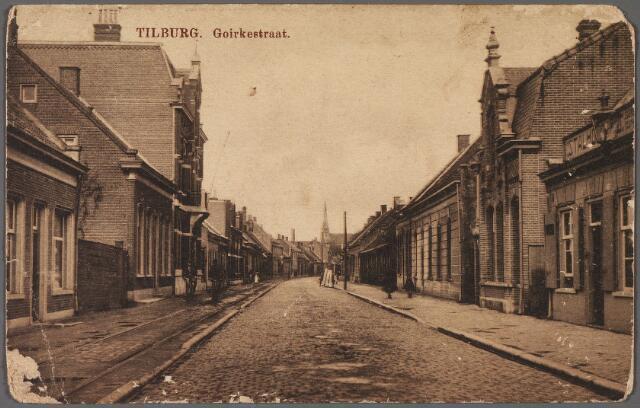 010307 - Goirkestraat, iets ten zuiden van de huidige Goirkezijstraat, richting  parochiekerk van 't Goirke. Links de rails van het trammetje van/naar Dongen-Oosterhout-Keizersveer.