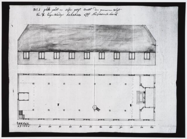 028969 - Tekening. Primus van Gilsstraat. Tekening van de schuurkerk ter plaatse.