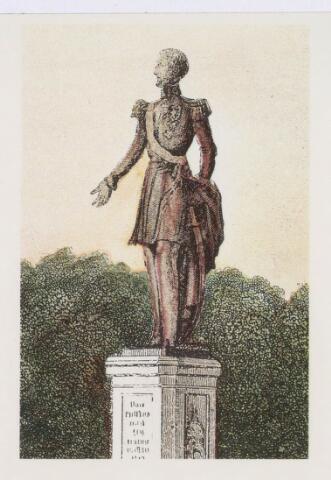 021426 - Tekening. Tekening van het standbeeld van Willem II uit 1922 in zijn oorspronkelijke omgeving te Den Haag