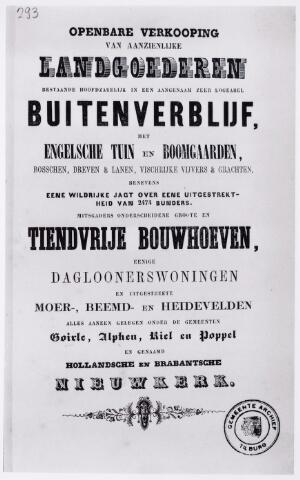 046507 - Catalogus van de openbare verkoop van een buitenverblijf en landgoederen onder Goirle, Alphen, Riel en Poppel, genaamd de 'Hollandsche en Brabantsche Nieuwkerk'.