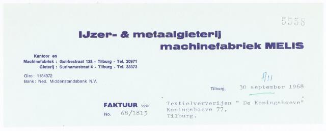 """060700 - Briefhoofd. Nota van IJzer- & Metaalgieterij, Machinefabriek Melis, Goirkestraat 138 en Surinamestraat 4, voor Textielververijen """"De Koningshoeven"""" Koningshoeven 77"""