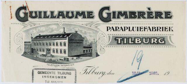 060165 - Briefhoofd. Briefhoofd van Guillaume Gimbrère, parapluiefabriek (paraplufabriek) Tilburg