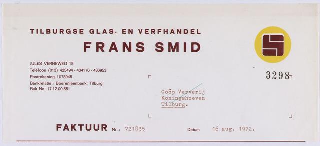 061104 - Briefhoofd. Nota van Tilburgse glas- en  verfhandel Frans Smid, Jules Verneweg 15 voor Coöp. Ververij, Koningshoeven