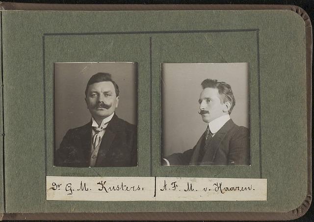 603957 - Links Dr. G. M. Kusters, rechts A.F.M. van Haaren. Albumblad met zogenaamde TipTop-pasfoto´s van het personeel van de gemeentesecretarie van Tilburg, omstreeks 1916.