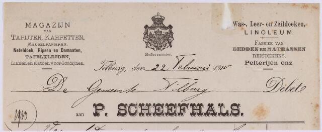 061031 - Briefhoofd. Nota van P. Scheefhals, magazijn van tapijten enz.voor de gemeente Tilburg