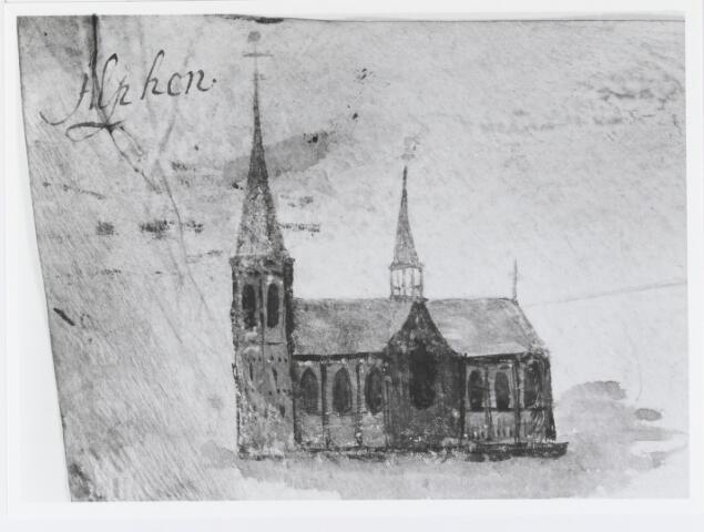 055120 - Detail. Kaart. Manuscriptkaart vervaardigd door Roelof van der Vleuten, notaris en landmeter van Riel en omgeving. Op de kaart de kerk en molen van Riel, de kerk van Goirle, de oudste kerk van Tilburg, de kerk van Alphen en de kerk van Gilze. 1657