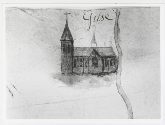 056044 - Detail. Kaart. Manuscriptkaart vervaardigd door Roelof van der Vleuten, notaris en landmeter van Riel en omgeving. Op de kaart de kerk en molen van Riel, de kerk van Goirle, de oudste kerk van Tilburg, de kerk van Alphen en de kerk van Gilze. 1657