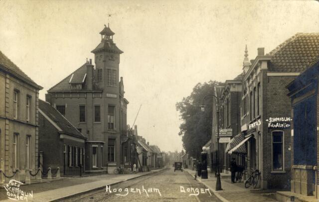 650371 - Schmidlin. De Hoge Ham te Dongen. Rechts de fotozaak van Karel Schmidlin, omstreeks 1925