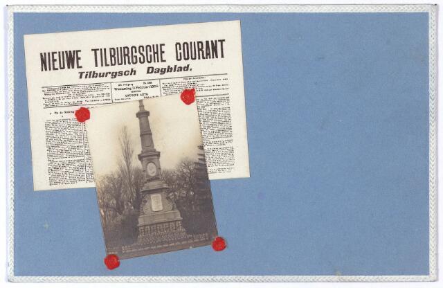 002501 - Gedenknaald voor koning Willem II op de hoek Monumentstraat-Paleisstraat.