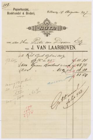 060529 - Briefhoofd. Nota van J. van Laarhoven, papierhandel, boekhandel & binderij, voor Pieter van Dooren te Tilburg