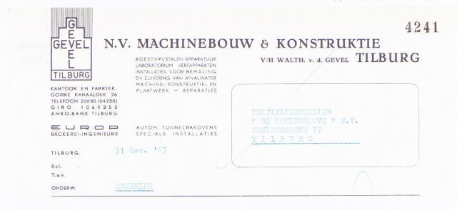 """060633 - Briefhoofd. Nota van N.V. Machinebouw & Konstruktie, v/h Walth. v.d. Gevel, Goirke, Kanaaldijk 26 voor Textielververijen """"De  Koningshoeven"""" N.V., Koningshoeven 77"""