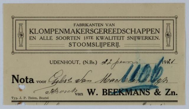 059536 - Briefhoofd. Briefhoofd van Stoomslijterij W. Beekmans & Zn., Fabrikanten van Klompenmakersgereedschappen en alle soorten 1ste kwaliteit snijwerken te Udenhout